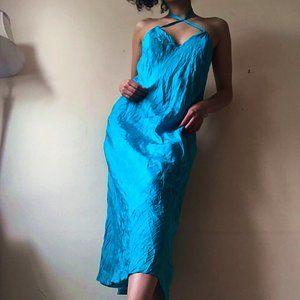 Vintage Chan luu turquoise Silk midi slip dress